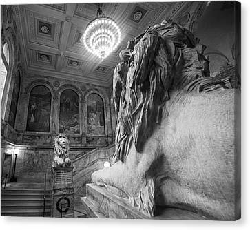 The Guardians Boston Public Library Lion Statues Black And White Canvas Print by Toby McGuire