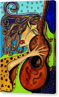 The Guitarist Canvas Print by Yvonne Feavearyear