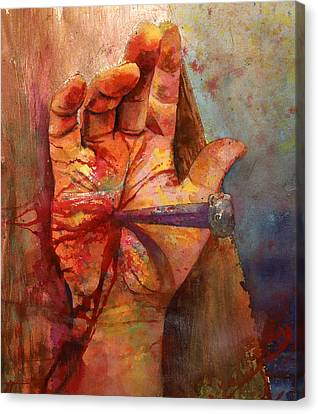 Canvas Print featuring the painting The Hand Of God by Andrew King