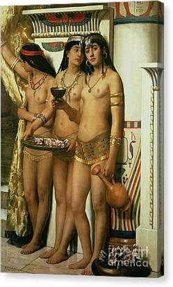 Ancient Egyptian Canvas Print - The Handmaidens Of Pharaoh by John Collier