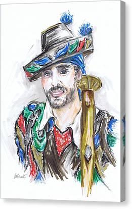 The Handsome Bandolero Or El Bandolero Guapo  Canvas Print by Jill Bennett