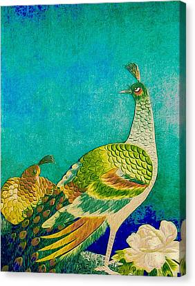 The Handsome Peacock - Kimono Series Canvas Print