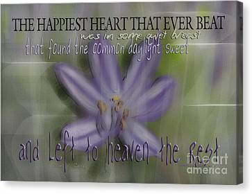 The Happiest Heart That Ever Beat Canvas Print by Vicki Ferrari