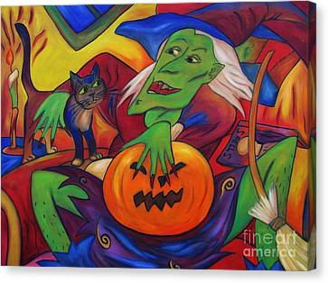 Canvas Print featuring the painting The Happy Witch Cat And Pumpkin by Dianne  Connolly