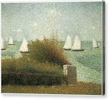 The Harbor At Grandcamp Canvas Print by Georges Seurat