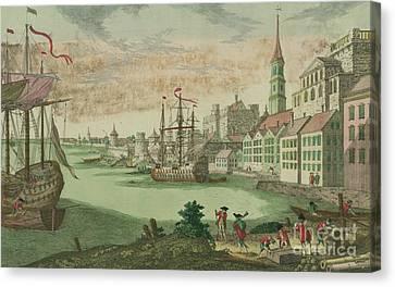Water Vessels Canvas Print - The Harbor In Boston, Massachusetts, 1770  by Franz Xavier Habermann