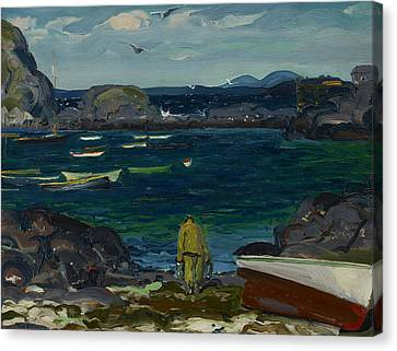 Maine Mountains Canvas Print - The Harbor, Monhegan Coast, Maine by George Bellows