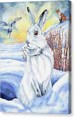The Hare Fear Creativity And Rebirth Canvas Print by Antony Galbraith