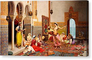 Belly Canvas Print - The Harem Dance by Giulio Rosati