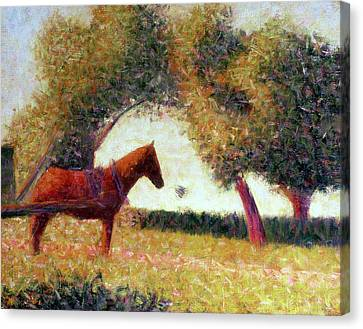 The Harnessed Horse Canvas Print by Georges Pierre Seurat