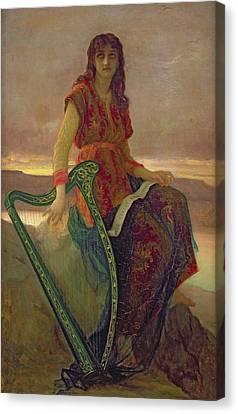 The Harpist Canvas Print by Antoine Auguste Ernest Herbert