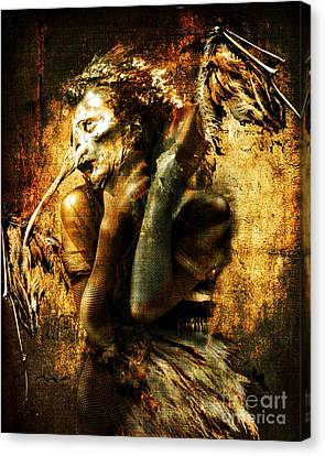 Canvas Print featuring the digital art The Harpy by Nada Meeks
