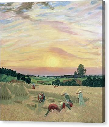 Hay Bales Canvas Print - The Harvest by Boris Mikhailovich Kustodiev