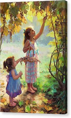 Grape Leaf Canvas Print - The Harvesters by Steve Henderson