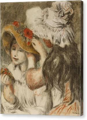 The Hatpin Canvas Print by  Pierre Auguste Renoir