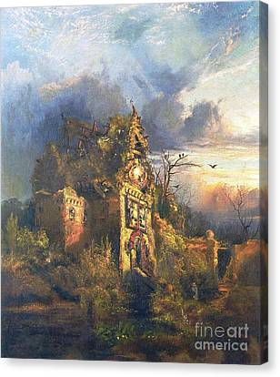 Ghost Story Canvas Print - The Haunted House by Thomas Moran