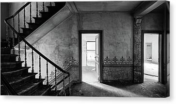 The Haunted Staircase - Abandoned Building Bw Canvas Print by Dirk Ercken