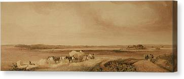 Horse And Cart Canvas Print - The Hayfield by Peter de Wint