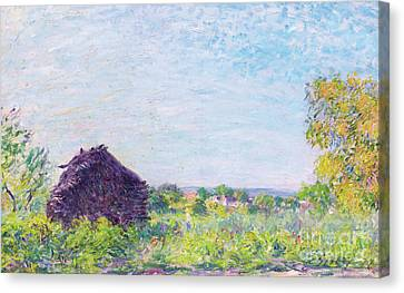 Meules Canvas Print - The Haystack, 1877 by Alfred Sisley