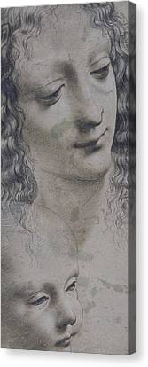 Jesus Christ Canvas Print - The Head Of A Woman And The Head Of A Baby by Leonardo Da Vinci