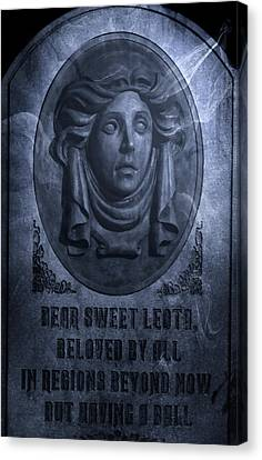 The Headstone Of Madame Leota Canvas Print by Mark Andrew Thomas