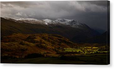 The Helvellyn Range In Winter Canvas Print by John Collier
