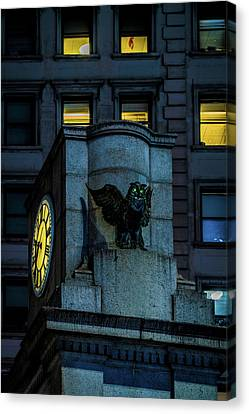 Canvas Print featuring the photograph The Herald Square Owl by Chris Lord