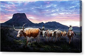 Texas Longhorns Blue Canvas Print