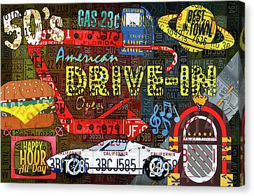 The Highway Never Closes License Plate Art Collage Canvas Print