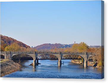 Bethlehem Canvas Print - The Hill To Hill Bridge - Bethlehem Pa by Bill Cannon