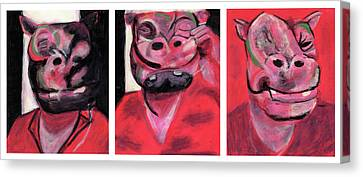 The Hippo Triptych Canvas Print by Bizarre Bunny