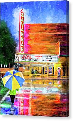 Canvas Print featuring the painting The Historic Savannah Theatre by Mark Tisdale