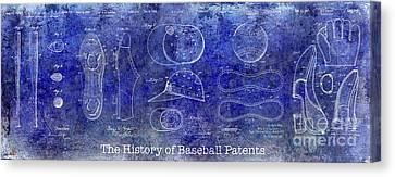 The History Of Baseball Patents Blue Canvas Print by Jon Neidert