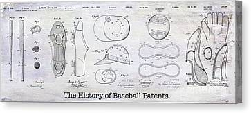 The History Of Baseball Patents Canvas Print by Jon Neidert