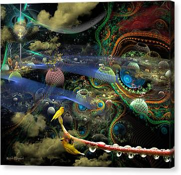 The History Of The Bioluminoidal Fractalization Process Canvas Print by Rhonda Strickland