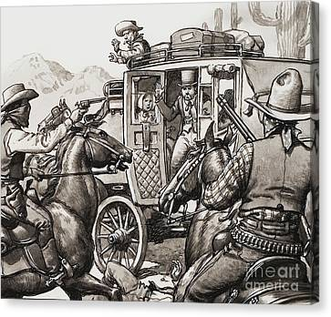 The Hold Up Of The First Stage Coach To Pass Through Palm Springs Canvas Print by Pat Nicolle