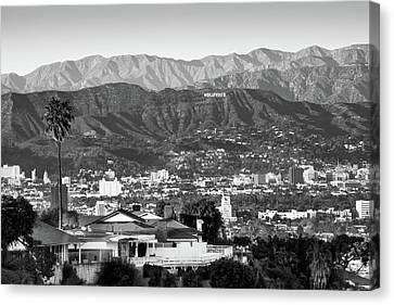 Canvas Print featuring the photograph The Hollywood Hills Urban Landscape - Los Angeles California Bw by Gregory Ballos