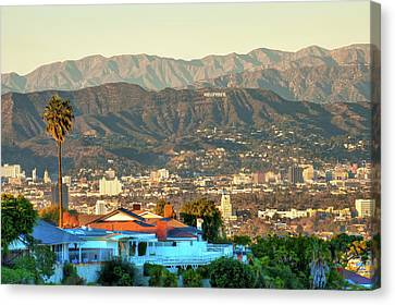 Canvas Print featuring the photograph The Hollywood Hills Urban Landscape - Los Angeles California by Gregory Ballos
