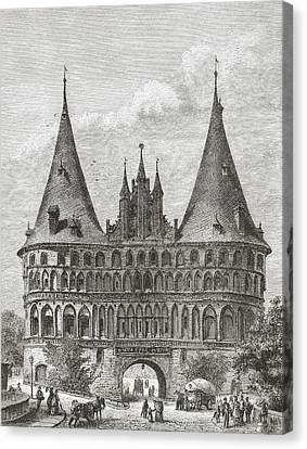 The Holsten Gate, Lubeck, Germany In Canvas Print by Vintage Design Pics