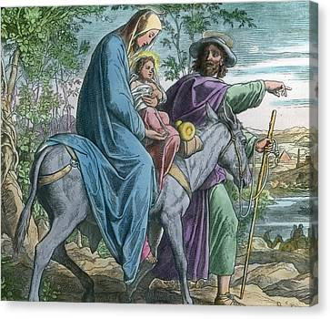 The Holy Family And The Flight Into Egypt Canvas Print