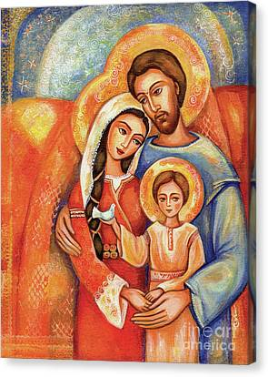 Canvas Print featuring the painting The Holy Family by Eva Campbell