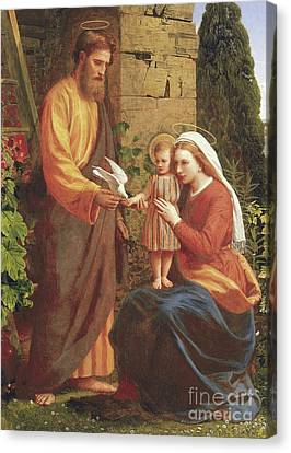 Madonna And Child Canvas Print - The Holy Family by James Collinson