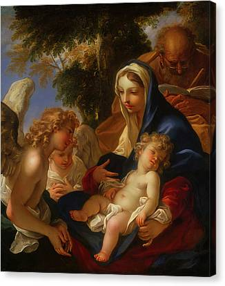 Canvas Print featuring the painting The Holy Family With Angels by Seastiano Ricci