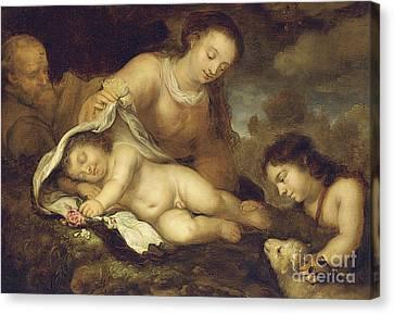 Nativity Canvas Print - The Holy Family With Infant Saint John The Baptist by Jurgen Ovens