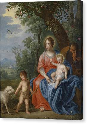 The Holy Family With John The Baptist And The Lamb Canvas Print by Jan Brueghel the Younger