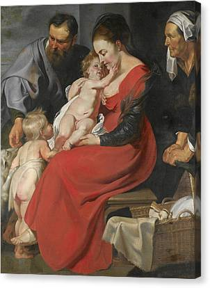 The Followers Canvas Print - The Holy Family With Saints Elizabeth And John The Baptist by Follower of Peter Paul Rubens