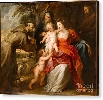 The Holy Family With Saints Francis And Anne And The Infant Saint John The Baptist Canvas Print by Celestial Images