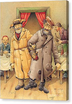 The Honest Thief 01 Illustration For Book By Dostoevsky Canvas Print by Kestutis Kasparavicius