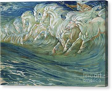 Crashing Canvas Print - The Horses Of Neptune by Walter Crane