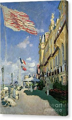 The Hotel Des Roches Noires At Trouville Canvas Print by Claude Monet